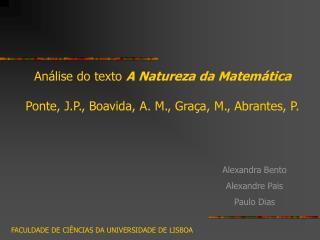 An lise do texto A Natureza da Matem tica   Ponte, J.P., Boavida, A. M., Gra a, M., Abrantes, P.