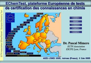 EChemTest, plateforme Europ enne de tests de certification des connaissances en chimie