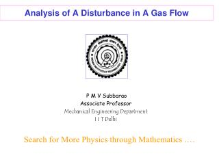 Analysis of A Disturbance in A Gas Flow