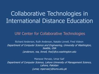 Collaborative Technologies in International Distance Education