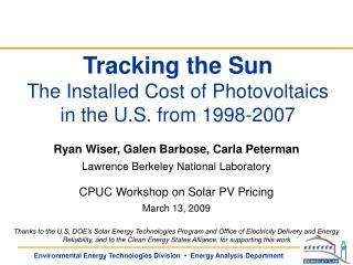Tracking the Sun The Installed Cost of Photovoltaics  in the U.S. from 1998-2007
