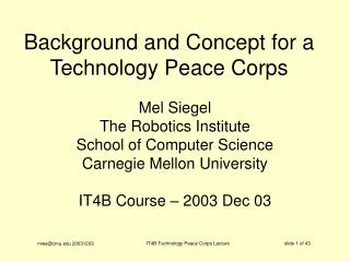 Background and Concept for a Technology Peace Corps