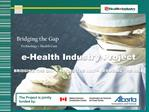 E-Health Industry Project  BRIDGING THE GAP  PAVING THE WAY  REDUCING THE RISK