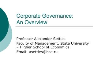 Corporate Governance:  An Overview