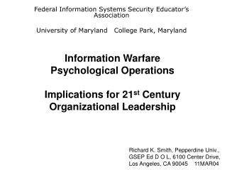 Information Warfare  Psychological Operations   Implications for 21st Century Organizational Leadership