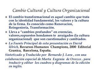 Cambio Cultural y Cultura Organizacional