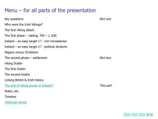 Menu   for all parts of the presentation