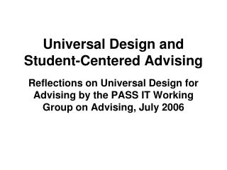 Universal Design and Student-Centered Advising