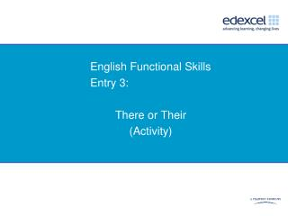 English Functional Skills Entry 3:   There or Their Activity