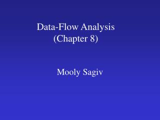 Data-Flow Analysis Chapter 8
