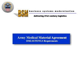 Army Medical Material Agreement DMLSS