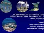 GOVERNMENT LED STRATEGIC DEVELOPMENT OF A LIQUEFIED NATURAL GAS INDUSTRY: THE TRINIDAD AND TOBAGO EXPERIENCE     David S