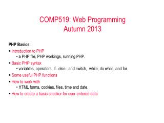 COMP519: Web Programming Autumn 2011