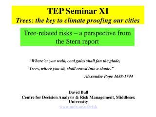 TEP Seminar XI Trees: the key to climate proofing our cities