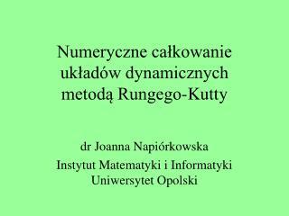 Numeryczne calkowanie  uklad w dynamicznych  metoda Rungego-Kutty