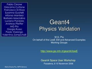 Geant4  Physics Validation