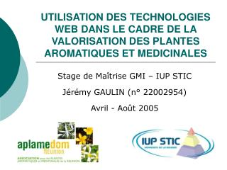 UTILISATION DES TECHNOLOGIES WEB DANS LE CADRE DE LA VALORISATION DES PLANTES AROMATIQUES ET MEDICINALES