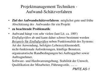 Projektmanagement Techniken -  Aufwand-Sch tzverfahren