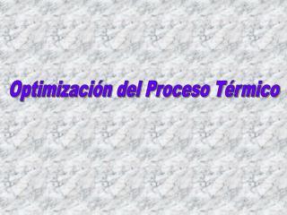 Optimizaci n del Proceso T rmico