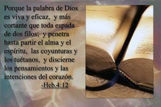 Porque la palabra de Dios es viva y eficaz,  y m s cortante que toda espada de dos filos;  y penetra hasta partir el alm