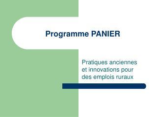 Programme PANIER