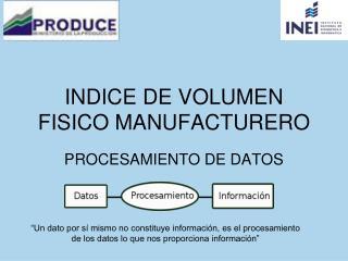 INDICE DE VOLUMEN FISICO MANUFACTURERO