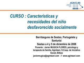 CURSO : Caracter sticas y necesidades del ni o desfavorecido socialmente