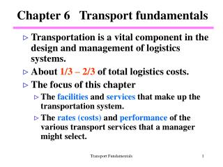 Chapter 6   Transport fundamentals