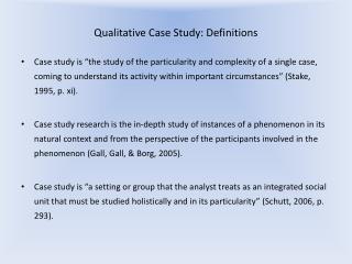 Qualitative Case Study: Definitions