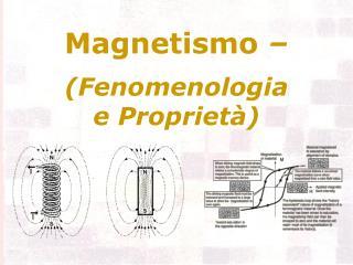 Magnetismo    Fenomenologia  e Propriet