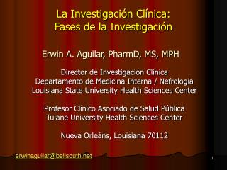 La Investigaci n Cl nica:  Fases de la Investigaci n