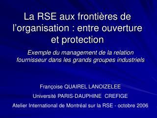 La RSE aux fronti res de l organisation : entre ouverture et protection