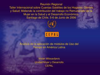 Reuni n Regional  Taller Internacional sobre Cuentas Sat lites de los Hogares: G nero y Salud; Midiendo la contribuci n