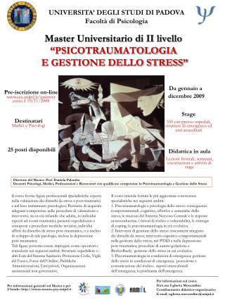 Master Universitario di II livello  PSICOTRAUMATOLOGIA  E GESTIONE DELLO STRESS