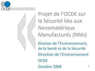 Projet de l OCDE sur la S curit  li e aux Nanomat riaux Manufactur s NMs