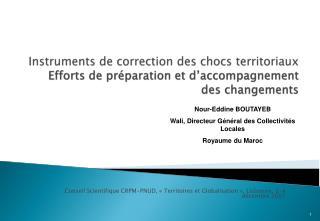 Instruments de correction des chocs territoriaux Efforts de pr paration et d accompagnement des changements