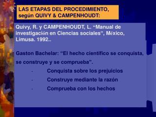 LAS ETAPAS DEL PROCEDIMIENTO, seg n QUIVY  CAMPENHOUDT: