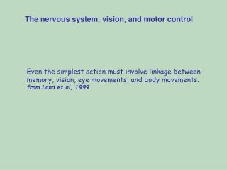 Even the simplest action must involve linkage between  memory, vision, eye movements, and body movements. from Land et a
