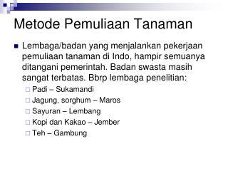 Metode Pemuliaan Tanaman