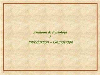 Anatomi  Fysiologi I Introduktion   Grundviden