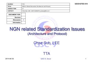NGN related Standardization Issues Architecture and Protocol