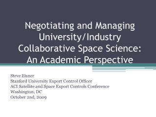 Negotiating and Managing University