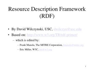 Resource Description Framework RDF