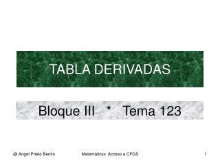 TABLA DERIVADAS