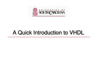 A Quick Introduction to VHDL