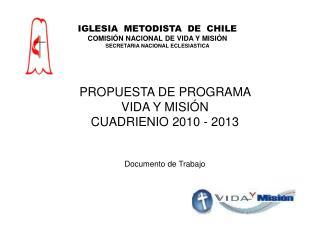 PROPUESTA DE PROGRAMA  VIDA Y MISI N CUADRIENIO 2010 - 2013   Documento de Trabajo