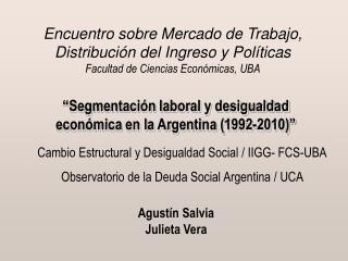 Segmentaci n laboral y desigualdad econ mica en la Argentina 1992-2010