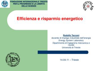 Efficienza e risparmio energetico