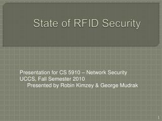 State of RFID Security