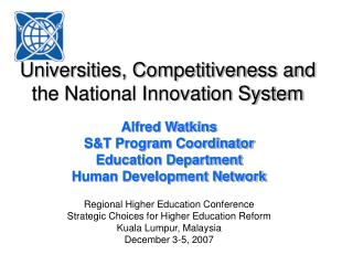 Universities, Competitiveness and the National Innovation System